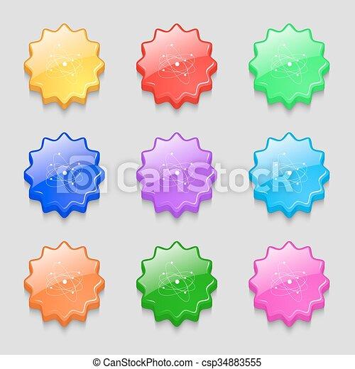 Physics Atom Big Bang Icon Sign Symbol On Nine Wavy Colourful