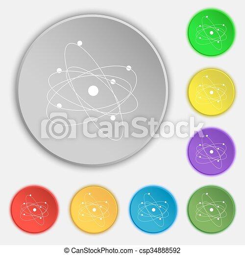 Physics Atom Big Bang Icon Sign Symbol On Eight Flat Buttons