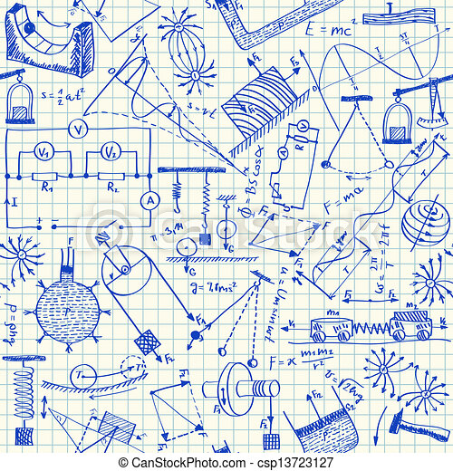 Physics doodles seamless pattern - csp13723127
