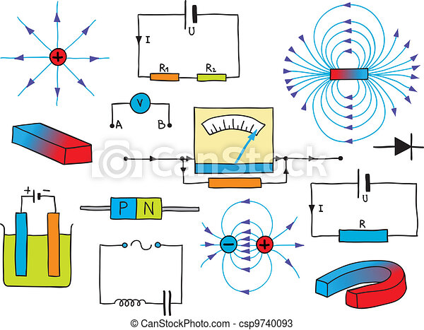 Illustration Of Physics Electricity And Magnetism