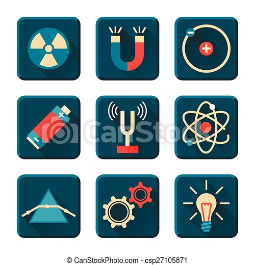 Physics icons in flat design style - csp27105871