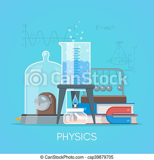 Physics Science Education Concept Vector Poster In Flat Style Design