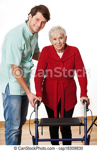 Physiotherapist and elderly woman - csp18309830