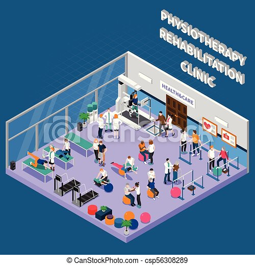 Physiotherapy Rehabilitation Clinic Interior Composition - csp56308289