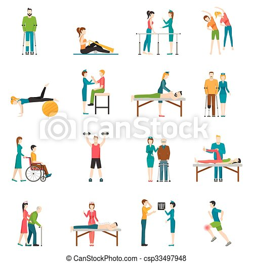 Physiotherapy Rehabilitation Color Icons - csp33497948