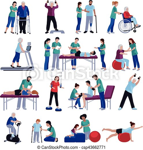 Physiotherapy Rehabilitation People Flat Icons Collection - csp43662771