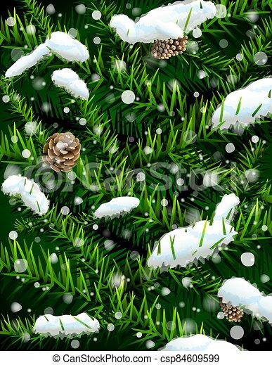piñas, árbol, navidad, ramas, nieve - csp84609599