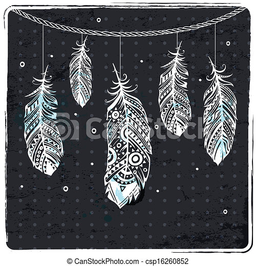 pióro, fason, ilustracja, etniczny - csp16260852