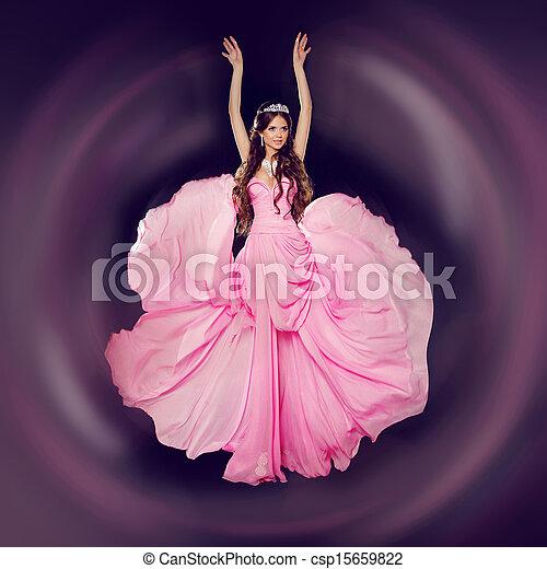 piękna kobieta, fason, sztuka, fotografia, młody, dress., studio, podmuchowy - csp15659822
