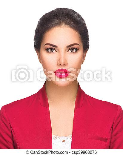 piękna kobieta, handlowy, młody, odizolowany, white., headshot, portret - csp39963276