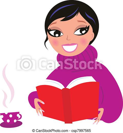 piękna kobieta, izolować, książka, biały, czytanie, czerwony - csp7997565