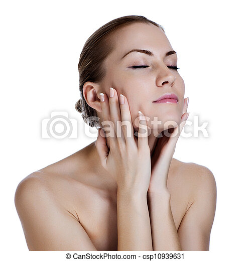 piękna kobieta, jej, młody, twarz, masowanie - csp10939631