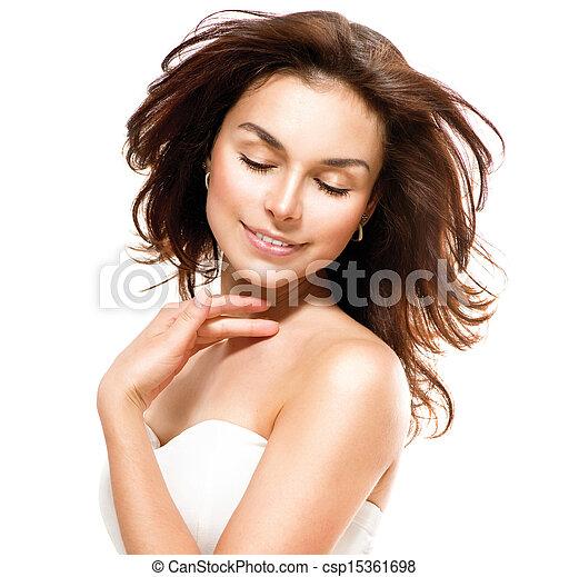 piękna kobieta, jej, na, młody, skin., dotykanie, portret, biały - csp15361698