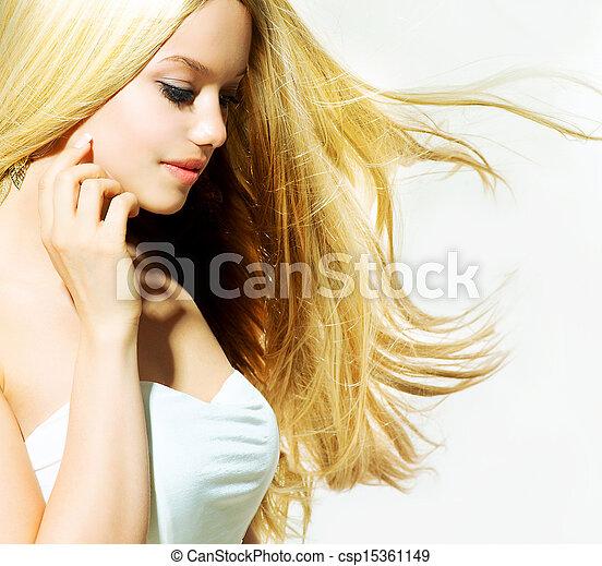 piękna kobieta, jej, piękno, młody, twarz, dotykanie, portrait. - csp15361149