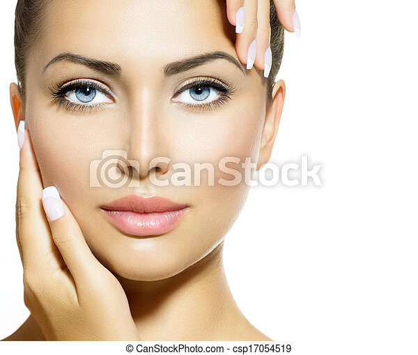 piękna kobieta, jej, piękno, twarz, dotykanie, portrait., zdrój - csp17054519