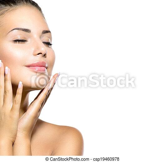 piękna kobieta, jej, piękno, twarz, dotykanie, portrait., zdrój, dziewczyna - csp19460978