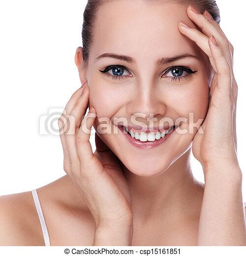 piękna kobieta, jej, piękno, twarz, dotykanie, portrait., zdrój - csp15161851