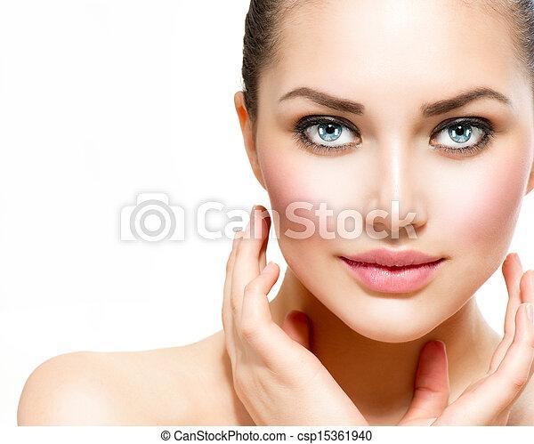 piękna kobieta, jej, piękno, twarz, dotykanie, portrait., zdrój - csp15361940