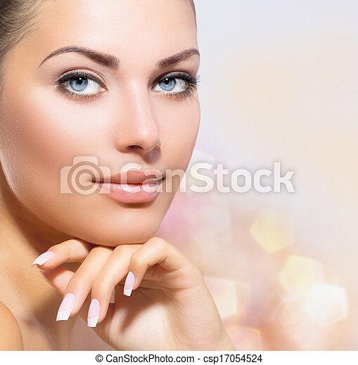 piękna kobieta, jej, piękno, twarz, dotykanie, portrait., zdrój - csp17054524