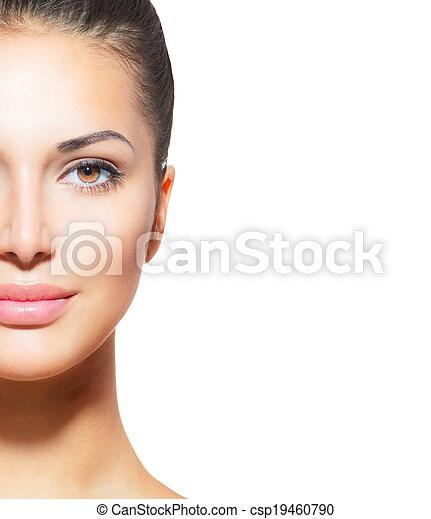 piękna kobieta, młody, czysty, skóra, świeży - csp19460790