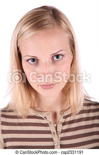 piękna kobieta, młody, odizolowany, portret, biały - csp2331191