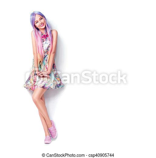 piękna kobieta, młody, odizolowany, długość, pełny, portret, biały - csp40905744