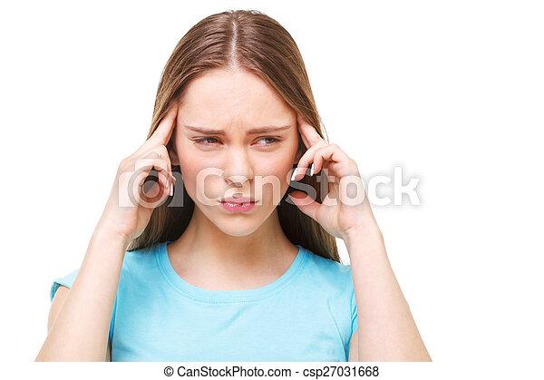 piękna kobieta, odizolowany, młody, white., ból głowy - csp27031668