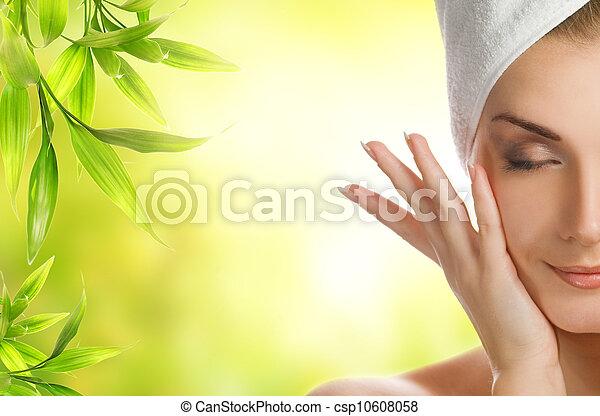 piękna kobieta, organiczny, jej, młody, kosmetyki, skóra, zwracający się - csp10608058
