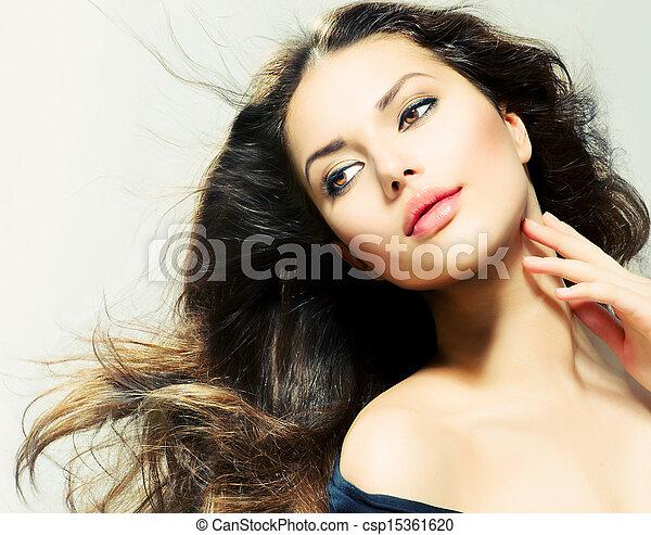 piękna kobieta, piękno, długi, brunetka, hair., portret, dziewczyna - csp15361620