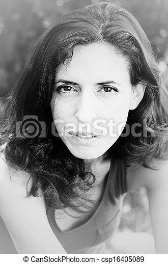 piękna kobieta, stary, 35, lata, portret - csp16405089