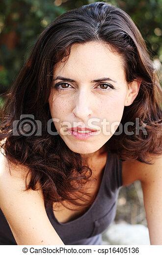 piękna kobieta, stary, 35, lata, portret - csp16405136