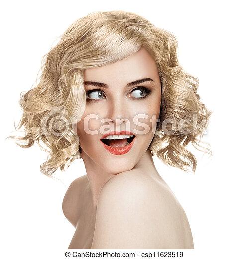 piękna kobieta, tło, portret, uśmiechanie się, biały - csp11623519