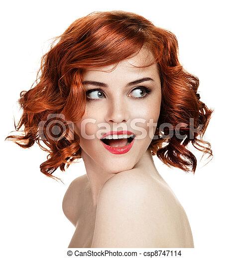 piękna kobieta, tło, portret, uśmiechanie się, biały - csp8747114