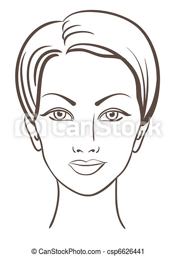 piękna kobieta, wektor, ilustracja, twarz - csp6626441