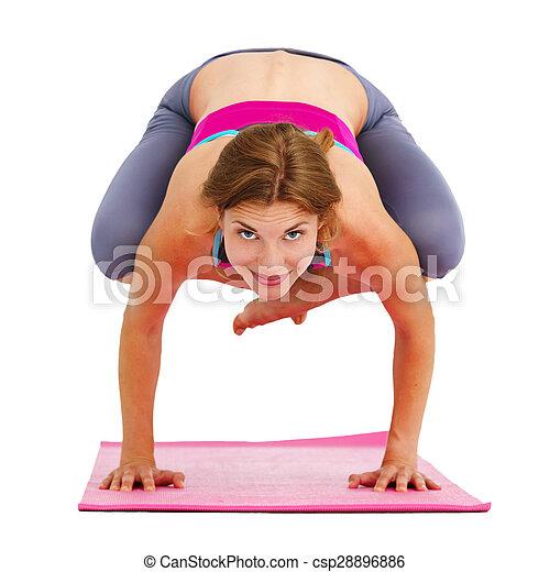 piękna kobieta, yoga, isolated., -, młody - csp28896886