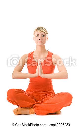 piękna kobieta, yoga, młody, odizolowany, tło, biały, ruch - csp10326283