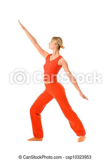 piękna kobieta, yoga, młody, odizolowany, tło, biały, ruch - csp10323953