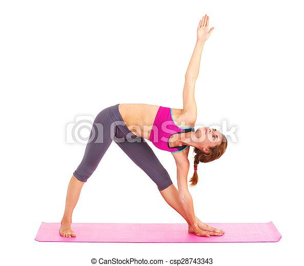 piękna kobieta, yoga, -, młody, odizolowany, white. - csp28743343
