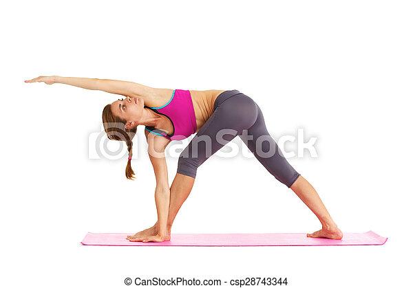 piękna kobieta, yoga, -, młody, odizolowany, white. - csp28743344