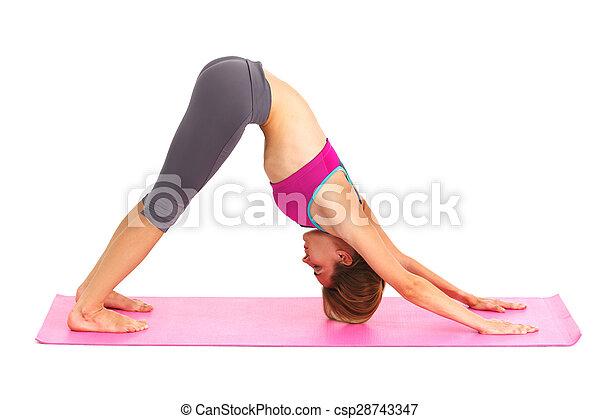 piękna kobieta, yoga, -, młody, odizolowany, white. - csp28743347