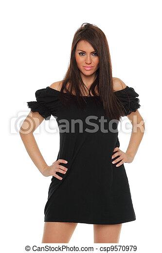 piękna kobieta, zmysłowość, czarnoskóry, dorosły, portret, przedstawianie, strój - csp9570979