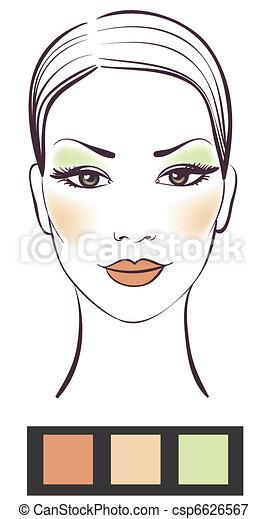 piękno, makijaż, ilustracja, twarz, wektor, dziewczyna - csp6626567