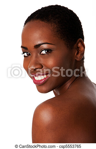 piękny, afrykańska kobieta, uśmiechanie się, teeth., szczęśliwy - csp5553765