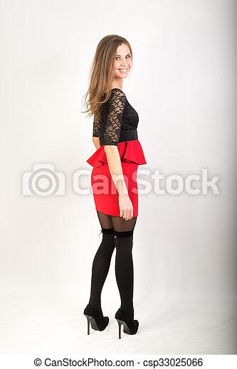 piękny, brunetka, krótki, pończochy, sexy, dziewczyna, poła, czerwony - csp33025066