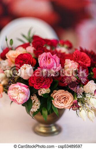 Piękny Bukiet Kwiat Stół Wazon