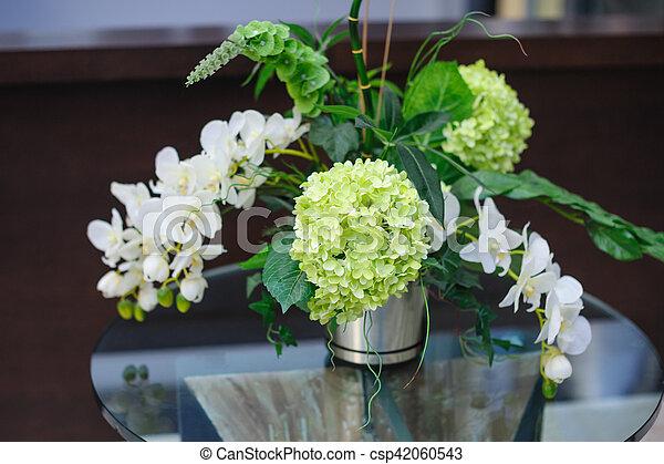 Piękny Bukiet Kwiaty Stół Wazon