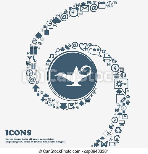 piękny, center., korzystać, genie, alladin, dookoła, spiral., dużo, kręcił, symbolika, lampa, wektor, może, każdy, separately, ty, ikona, twój, design. - csp39403381