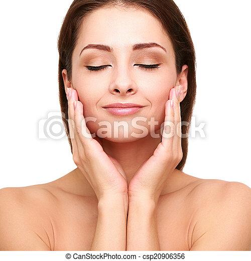 piękny, doskonały, kobieta, jej, młody, odizolowany, skin., dotykanie, closeup, czysty, zdrój, portret - csp20906356