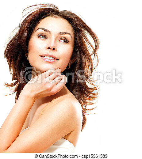 piękny, doskonały, odizolowany, młody, white., samica, skóra, portret - csp15361583