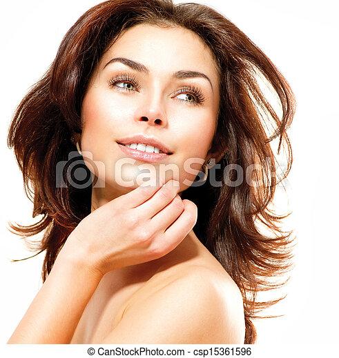 piękny, doskonały, odizolowany, młody, white., samica, skóra, portret - csp15361596